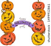 halloween design template. hand ... | Shutterstock .eps vector #1499912861