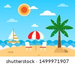 tropic beach landscape with... | Shutterstock .eps vector #1499971907