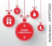 merry christmas balls on... | Shutterstock .eps vector #1499972324