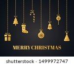 christmas decoration. gold... | Shutterstock .eps vector #1499972747