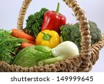 basket with raw and freshness... | Shutterstock . vector #149999645