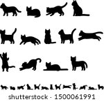 Stock vector illustration set of cat silhouette 1500061991