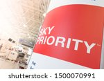 Small photo of Rio de Janeiro/Brazil - August 26th 2019: Sky Priority Sign in Galeao International Airport - Priority By Air France and KLM Airlines - Priority Throughout your Entire Journey Inside the Airport