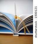 an open book with bookmark. | Shutterstock . vector #1500121