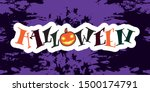 happy halloween text. hand... | Shutterstock .eps vector #1500174791
