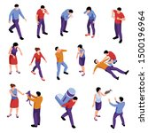 isometric icons set with men... | Shutterstock .eps vector #1500196964