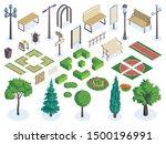 isometric city park color... | Shutterstock .eps vector #1500196991
