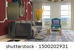 interior of the living room. 3d ... | Shutterstock . vector #1500202931