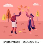 couple of women in autumn park... | Shutterstock .eps vector #1500209417