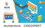 e commerce colorful concept... | Shutterstock .eps vector #1500209897