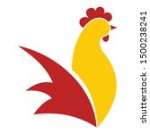 Red Yellow Rooster Logo. Flat...