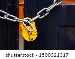 Yellow Padlock With Chain...
