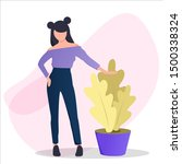 woman standing with plant....