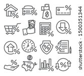 loan and credit line icons on... | Shutterstock .eps vector #1500351344