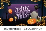 trick or treat  greeting purple ... | Shutterstock .eps vector #1500354407