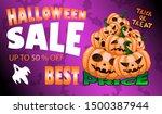 happy halloween sale banners or ... | Shutterstock .eps vector #1500387944