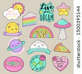 set of fashion patches  cute... | Shutterstock .eps vector #1500395144
