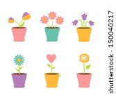 set of flowers in pots. vector... | Shutterstock .eps vector #150040217