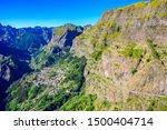 View from Eira do Serrado to Curral das Freiras village in the Nuns Valley in beautiful mountain scenery, municipality of Câmara de Lobos, Madeira island, Portugal.