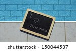 i love swimming written on a... | Shutterstock . vector #150044537