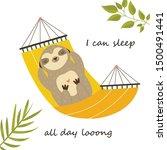 Happy Sloth Having A Nap In A...
