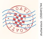 croatia stamp postal. shield... | Shutterstock .eps vector #1500491744