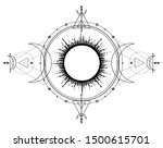 mystical drawing  sun system ... | Shutterstock .eps vector #1500615701
