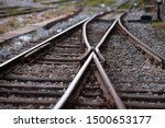 Railroad tracks with a junction ...