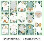 doodle safari animal calendar... | Shutterstock .eps vector #1500669974