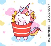 cute unicorn in french fries... | Shutterstock .eps vector #1500670097