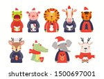 big christmas set with cute... | Shutterstock .eps vector #1500697001