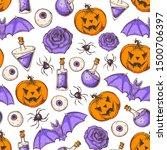 halloween seamless pattern .... | Shutterstock .eps vector #1500706397