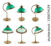 Metal Table Lamp With A Green...
