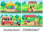 marketplace with clothes  bread ... | Shutterstock .eps vector #1500820667
