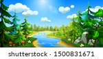 forest with a river  spruces ... | Shutterstock .eps vector #1500831671