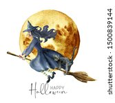Watercolor Halloween Card With...