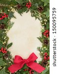 christmas border of holly  ivy  ... | Shutterstock . vector #150095759