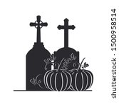 tombstone with pumpkin on white ... | Shutterstock .eps vector #1500958514