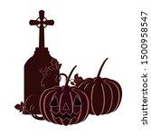 halloween pumpkin with scary... | Shutterstock .eps vector #1500958547