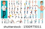 set of people working and... | Shutterstock .eps vector #1500975011