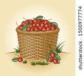 retro basket of cherries.... | Shutterstock .eps vector #1500977774