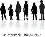 vector silhouette of children... | Shutterstock .eps vector #1500987827