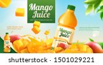 mango bottled juice ads with... | Shutterstock .eps vector #1501029221