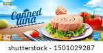 canned tuna banner ads with... | Shutterstock .eps vector #1501029287