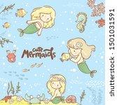 set witn cute little mermaid ... | Shutterstock .eps vector #1501031591