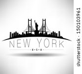 Stock vector modern new york skyline silhouette 150103961