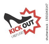 woman kicks out. no and... | Shutterstock .eps vector #1501043147