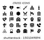 cross icon set. 30 filled cross ... | Shutterstock .eps vector #1501049894