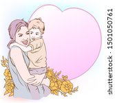 mother and son's love greeting... | Shutterstock .eps vector #1501050761