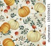 autumn pumpkins with cream... | Shutterstock .eps vector #1501056671